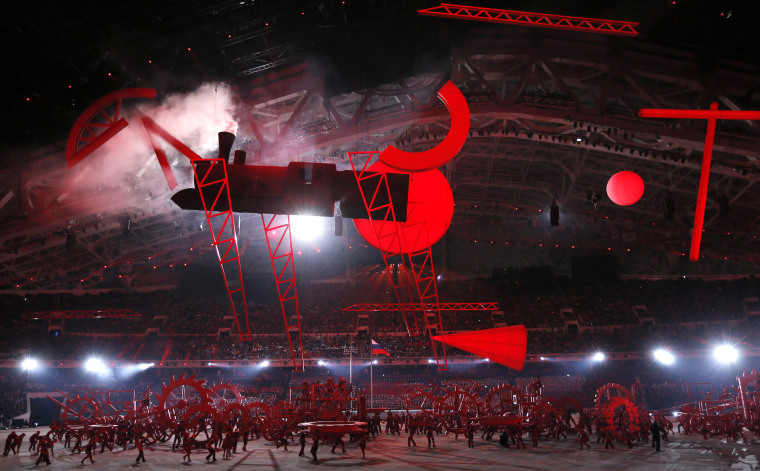 Participants perform during the opening ceremony of the 2014 Sochi Winter Olympics, Feb. 7, 2014.
