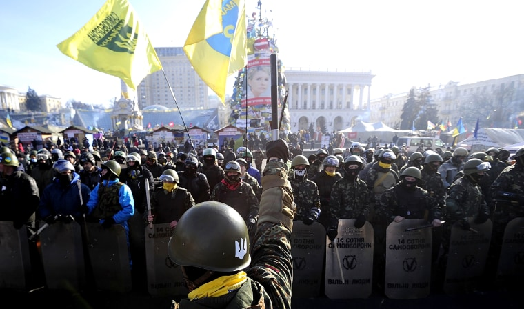 Anti-government Protesters gather at the Independence Square after demonstrating around the national Stadium on Feb. 6, 2014 in Kiev, Ukraine.