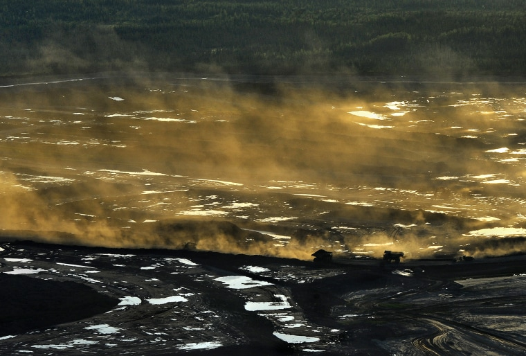 Oil sands near Fort McMurray, Alberta, Canada. The oil extracted from this area is the product that would travel through the proposed Keystone XL oil pipeline.
