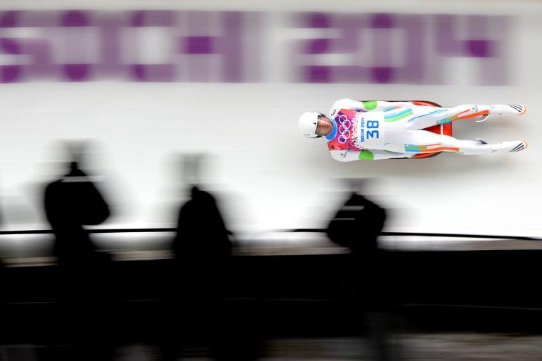 Shiva Keshavan competes in the Men's Luge Singles Run at the Sanki Sliding Center during the Sochi Winter Olympics on Feb. 8, 2014.