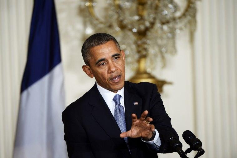 Barack Obama addresses a press conference, Feb. 11, 2014.