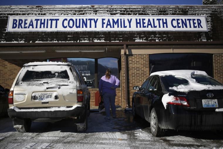 Mary Blair arrives at the Breathitt County Family Health Center, Jan. 21, 2014.
