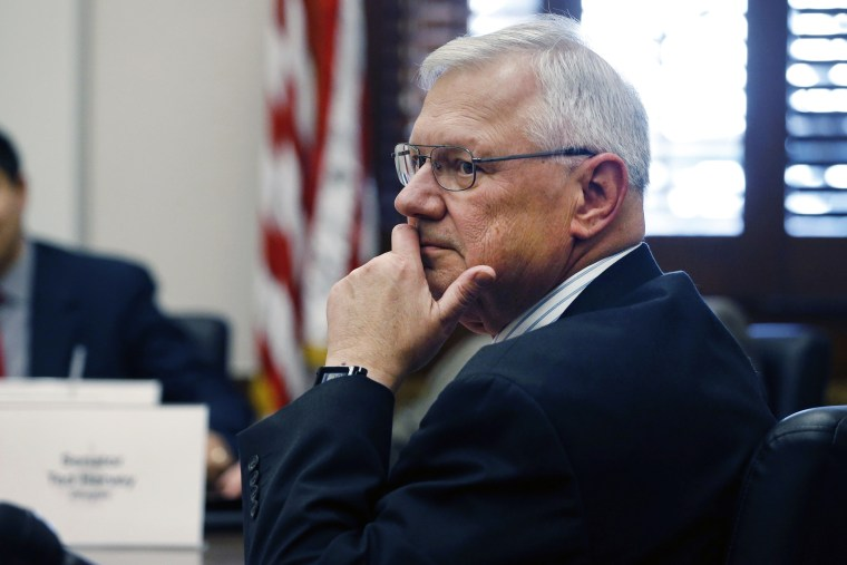 Colorado state Republican Sen. Bernie Herpin listens during a committee hearing, Jan. 15, 2014, in Denver, Colo.