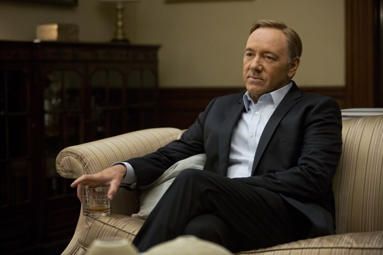 """This image released by Netflix shows Kevin Spacey in a scene from the Netflix original series, \""""House of Cards.\"""""""