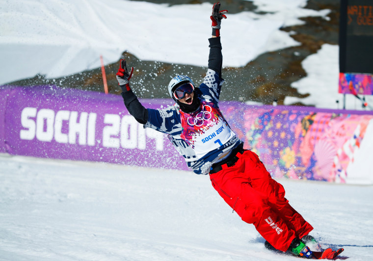 American Nicholas Goepper reacts during the men's freestyle skiing slopestyle finals at the 2014 Sochi Winter Olympic Games, Feb. 13, 2014, in Rosa Khutor.