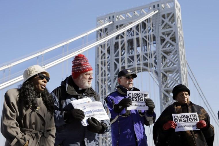 New Jersey residents protest near the George Washington Bridge, Feb. 11, 2014.