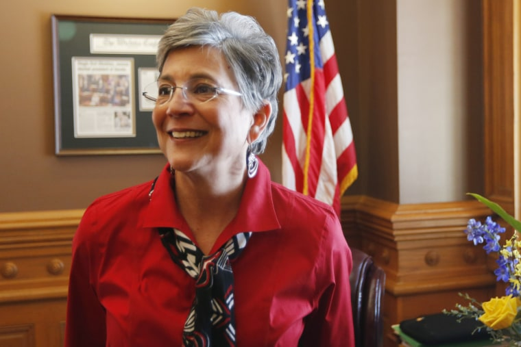 Sen. Susan Wagle, R-Wichita, and president of the Kansas Senate, talks to a reporter in her office at the Kansas Statehouse, Feb. 14, 2014.