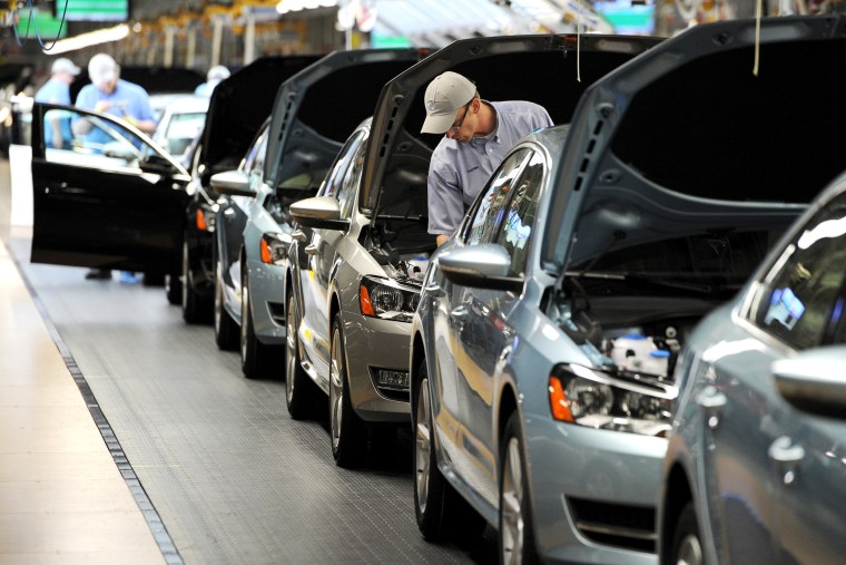 Passat sedans come off the assembly line at the Volkswagen automobile assembly plant, Feb. 21, 2012 in Chattanooga, Tenn.
