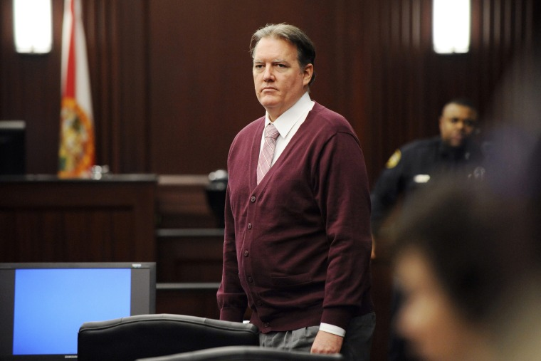 Michael Dunn in the courtroom during his murder trial for the shooting death of Jordan Davis at Duval County Courthouse, Feb. 8, 2014, in Jacksonville, Fla.