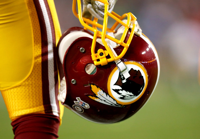 A Washington Redskins helmet is seen prior to a game at FedEx Field, Nov. 25, 2013 in Landover, Md.