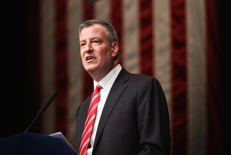 New York City Mayor Bill de Blasio gives the State of the City address at La Guardia Community College, Feb. 10, 2014.