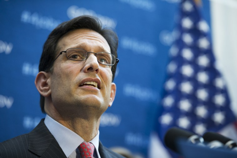Eric Cantor speaks during a news conference at the U.S. Capitol, Jan. 8, 2014.
