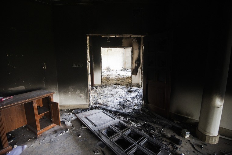 A view inside the burnt US consulate building in Benghazi, Libya on September 13, 2012.