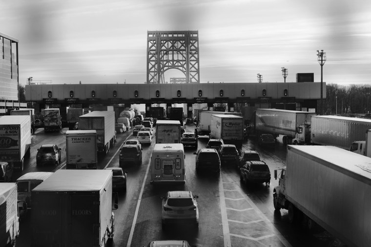 Toll booths during a morning rush hour at the George Washington Bridge.