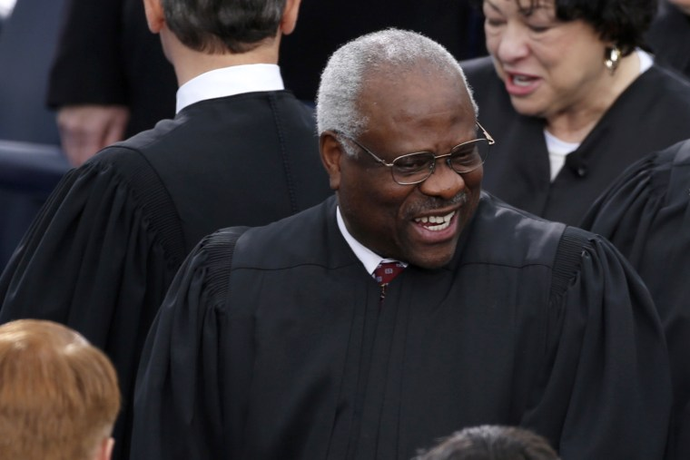 U.S. Supreme Court Justice Clarence Thomas arrives for inauguration ceremonies at the U.S. Capitol in Washington, Jan. 21, 2013.
