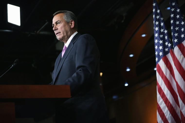 John Boehner speaks during his weekly news conference, Feb. 6, 2014.