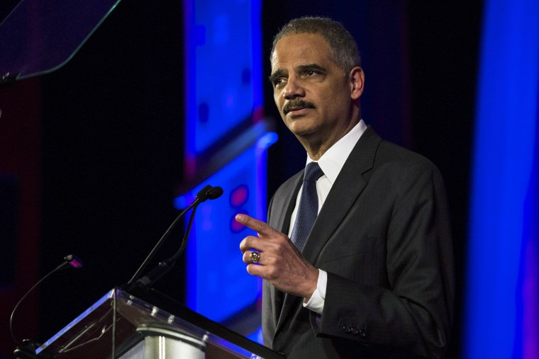 Attorney General Eric Holder speaks during the Human Rights Campaign's 13th annual Greater New York Gala in New York City, February 8, 2014.