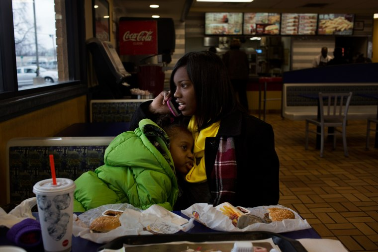 Kiswanna Randle goes to lunch at Burger King with her four year old daughter after work in Little Rock, Ark.