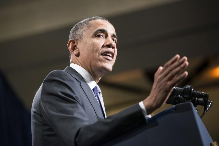 US President Barack Obama speaks on Feb. 14, 2014 in Cambridge, Maryland.