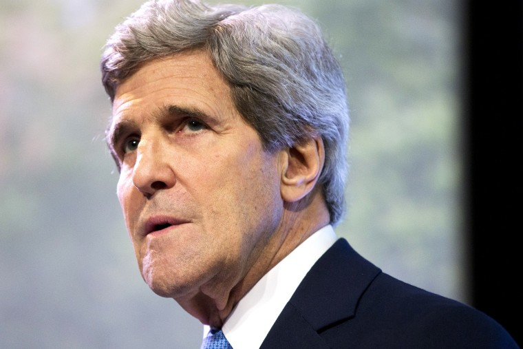 Secretary of State John Kerry pauses as he delivers a speech on climate change in Jakarta, Indonesia, Feb. 16, 2014.