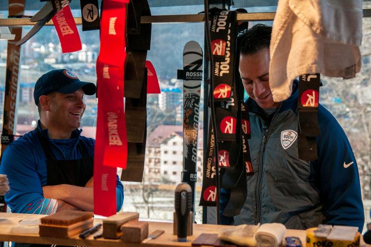 Brian Shactman visits ski technician Miha Dolinar in his workshop.