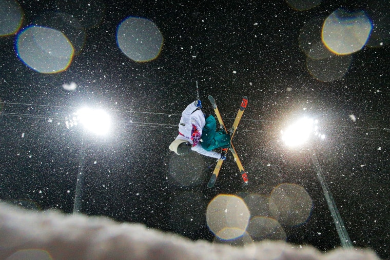 Antti-Jussi Kemppainen of Finland competes in the Freestyle Skiing Men's Ski Halfpipe Finals on day eleven of the 2014 Sochi Olympics.