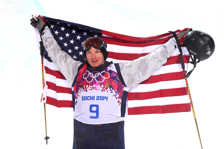 Gold medalist David Wise of the United States celebrates after the Freestyle Skiing Men's Ski Halfpipe Finals on day eleven of the 2014 Sochi Olympics.