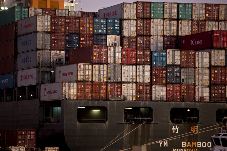The YM Bamboo, a container ship operated by the China Ocean Shipping Company (COSCO) is docked at the Port of Oakland in Oakland, Calif. Jan. 14, 2011.