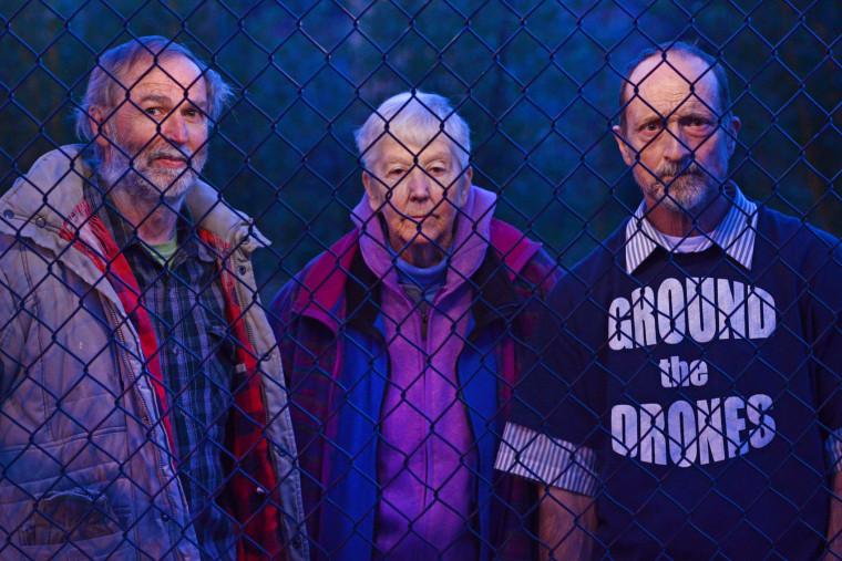 Gregory Boertje-Obed, Sister Megan Rice, and Michael Walli wait their federal trial in Oak Ridge, TN, Feb. 6, 2013.
