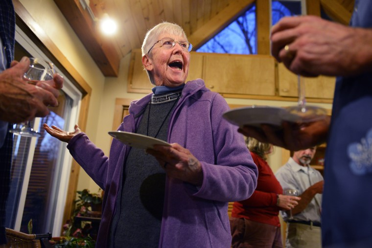 Sister Megan Rice answers questions from members of a church group at a home in Maryville, TN, on February 5, 2013.