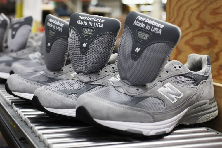 A line of New Balance 993 shoes are seen at the New Balance shoe factory in Norridgewock, Maine, July 19, 2011.