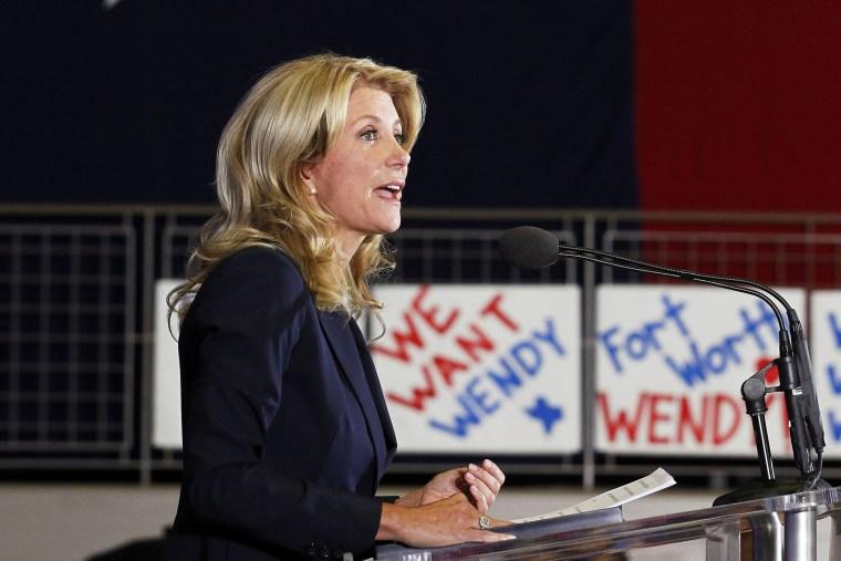 Texas state Senator Wendy Davis speaks to supporters in Haltom City, Texas, Oct. 3, 2013.