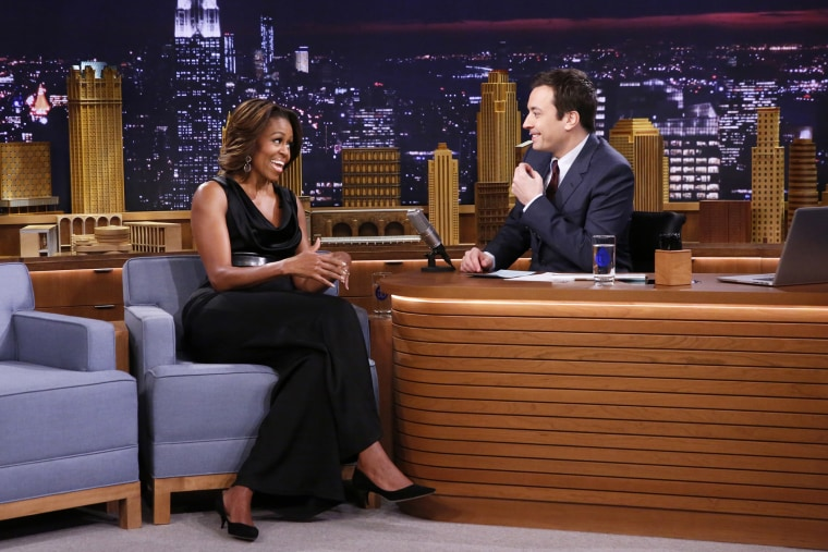 First Lady Michelle Obama during an interview on The Tonight Show with Jimmy Fallon, February 20, 2014.