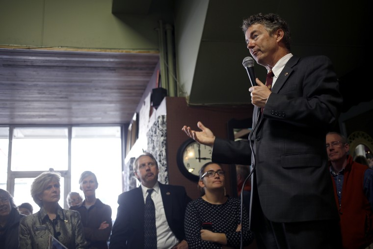 Senator Rand Paul (R-KY) delivers remarks to constituents during a meet and greet event at the Harvest Coffee and Cafe coffee shop on Feb. 19, 2014 in Shelbyville, Kentucky.