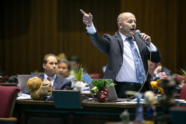 House Minority Leader Chad Campbell, (D) Phoenix, argues that House Bill 2153 would discriminate against gays and others on the House Floor in Phoenix on Feb. 20, 2014.