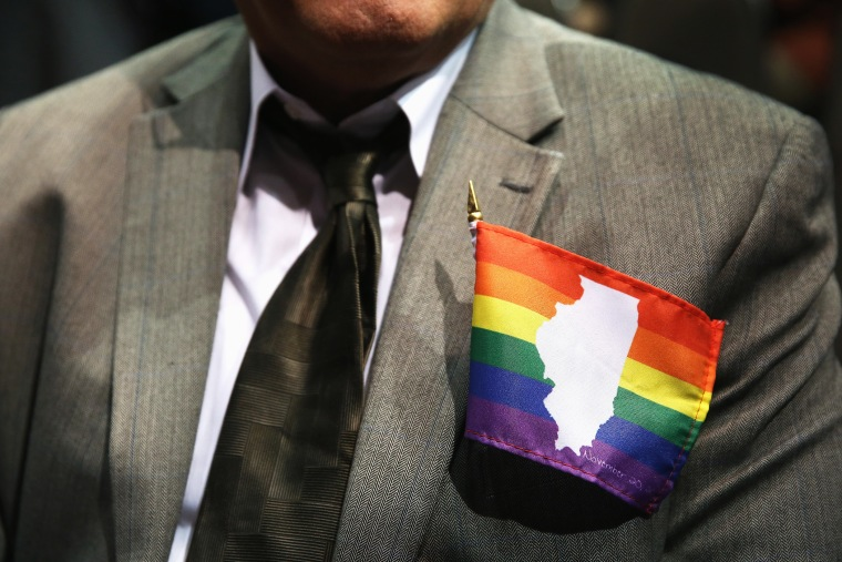 Jimmy Smith wears a small Illinois gay pride flag on his jacket in Chicago, Illinois, Nov. 2013.
