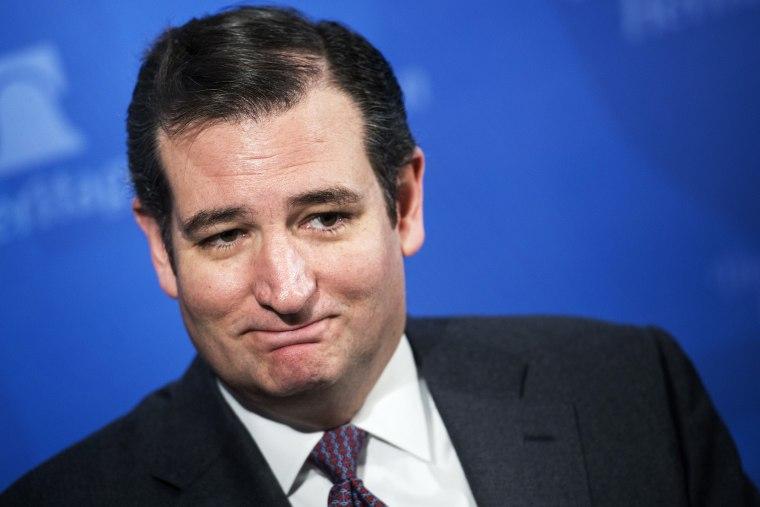 US Senator Ted Cruz waits to speak at the Heritage Foundation, January 28, 2014.