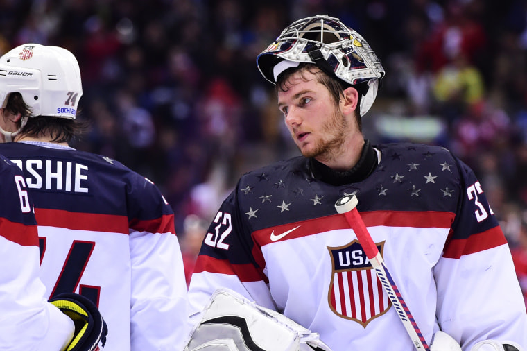 US goalkeeper Jonathan Quick reacts at the end of the Men's Ice Hockey Semifinals USA vs Canada at the Bolshoy Ice Dome during the Sochi Winter Olympics, Feb. 21, 2014.