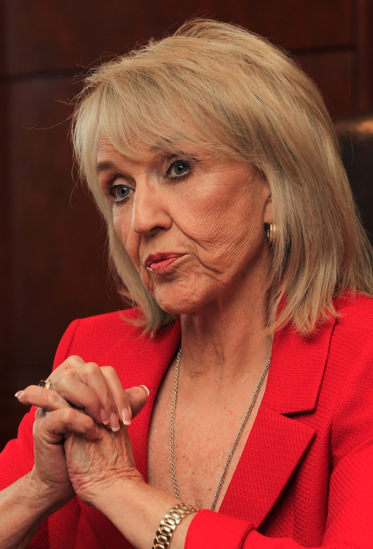 Arizona Gov. Jan Brewer talks about the upcoming legislative session during an interview at the Capitol Thursday, Jan. 5, 2012, in Phoenix.