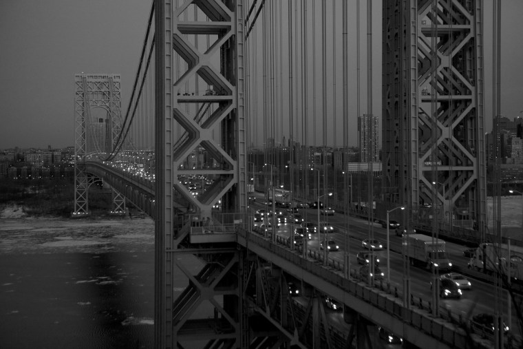 An early night scene of the George Washington Bridge from New Jersey.