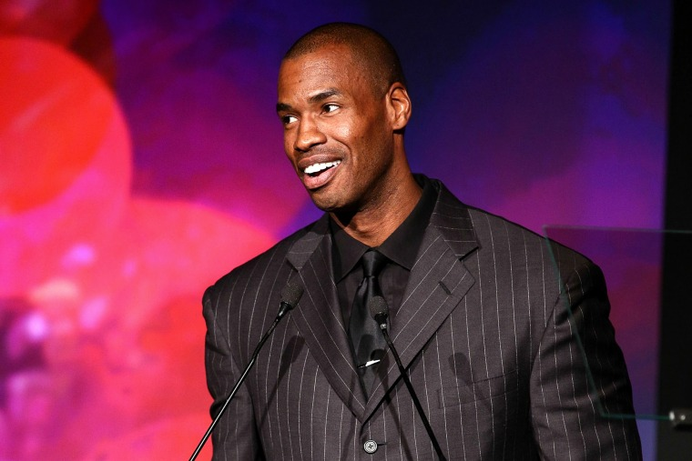 Professional basketball player Jason Collins speaks at the L.A. Gay & Lesbian Center's 42nd Anniversary Vanguard Awards Gala, Nov. 9, 2013, in Los Angeles, Calif.