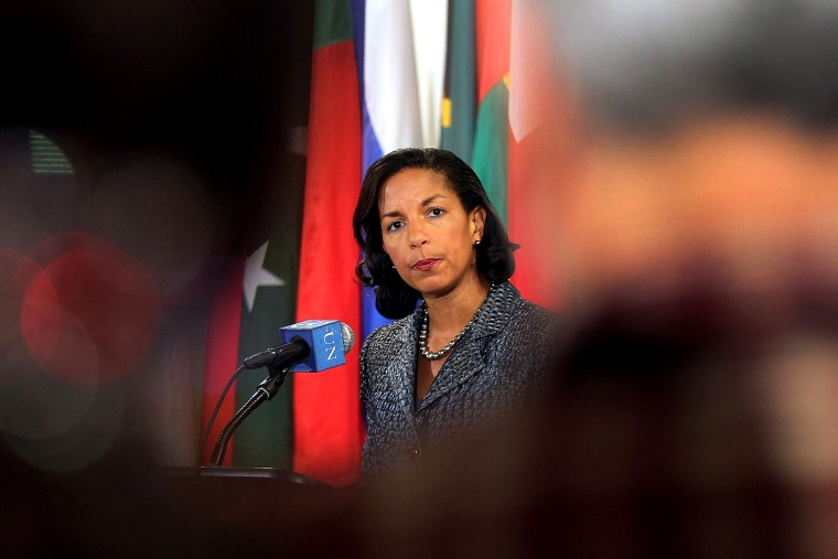 US Ambassador to the United Nations Susan Rice speaks to the media following a meeting, April 13, 2012, in New York, NY.