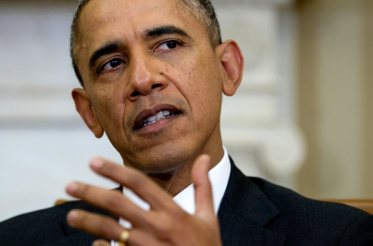 President Barack Obama gestures as he speaks to the media during an event, Feb. 6, 2014, in Washington.