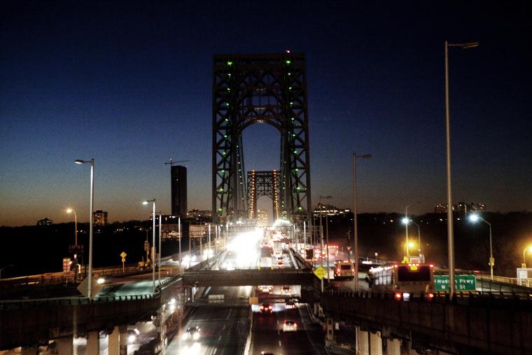 A night scene of the George Washington Bridge.