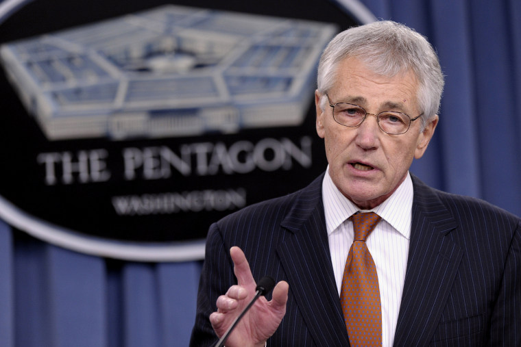 Defense Secretary Chuck Hagel speaks during a briefing at the Pentagon, Feb. 7, 2014.