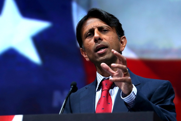 Louisiana governor Bobby Jindal speaks during an event, May 3, 2013, in Houston, Texas.