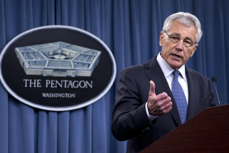 Defense Secretary Chuck Hagel briefs reporters, Feb. 24, 2014, at the Pentagon.