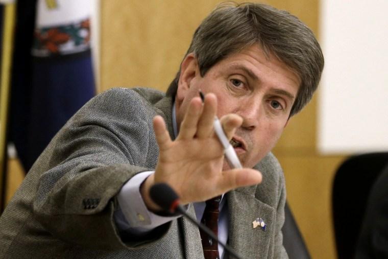 Sen. Stephen Martin, R-Chesterfield, gestures during a procedural move, Jan. 28, 2013 in Richmond, Va.