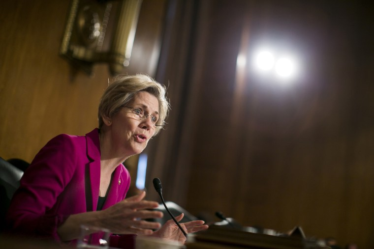 Sen. Elizabeth Warren asks Treasury Secretary Jack Lew questions during a committee hearing on Capitol Hill, May 21, 2013.