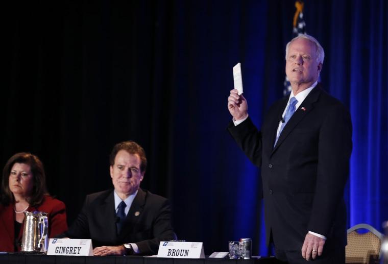 Candidate for U.S. Senate Rep. Paul Broun, R-Ga. during a forum Monday, Jan. 27, 2014, in Atlanta.